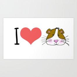 I love / Heart Guinea Pigs Art Print