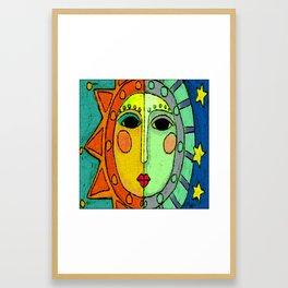 Moon and Sun Abstract Digital Painting Framed Art Print
