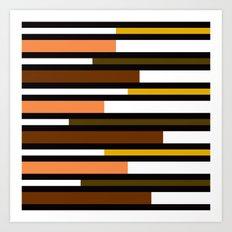 Brown, green, yellow & pink stripes Art Print