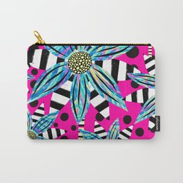 Pinwheel Flowers on Hot Pink Carry-All Pouch
