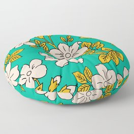 Teal Spring Ditsy Floral Floor Pillow