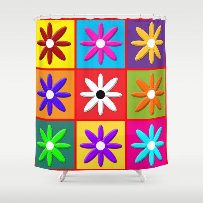 Pop Daisy Shower Curtain by linart | Society6