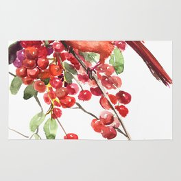 Cardinal Bird and Berries, red green Christmas colors artwork design Cardinal lover Rug