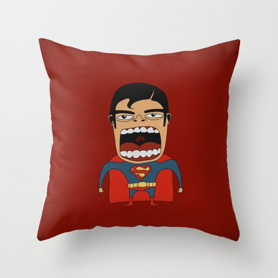 Screaming Superdude Throw Pillow