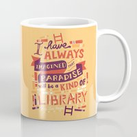 library Mugs featuring Library by Risa Rodil