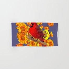 GOLDEN SUNFLOWERS RED CARDINAL GREY ART Hand & Bath Towel
