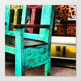 Store front bench Canvas Print