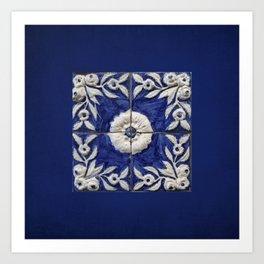 antique blue tile Art Print