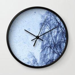 Just snowfall and birch Wall Clock