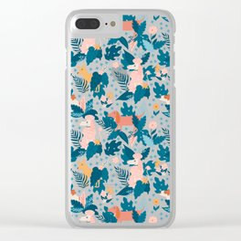 Stop and Sniff the Flowers on Blue Clear iPhone Case