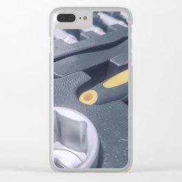 Industrial Socket Set inside Toolbox, Ratchet Socket Kit Clear iPhone Case