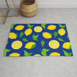 Summer Lemons Pattern - Yellow and Blue Palette Rug