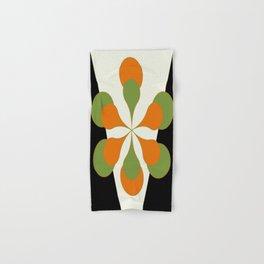 Mid-Century Modern Art 1.4 - Green & Orange Flower Hand & Bath Towel