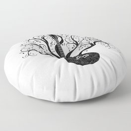 Guitar silhouette with tree branches and music notes Floor Pillow