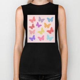 Multicoloured Butterflies on Pink Biker Tank