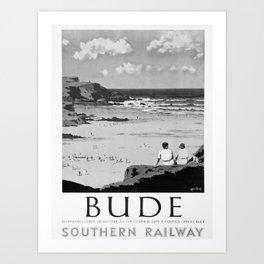 retro monochrome Bude retro poster Art Print