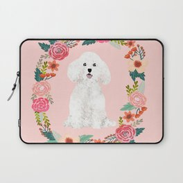 bichon frise floral wreath dog gifts pet portraits Laptop Sleeve