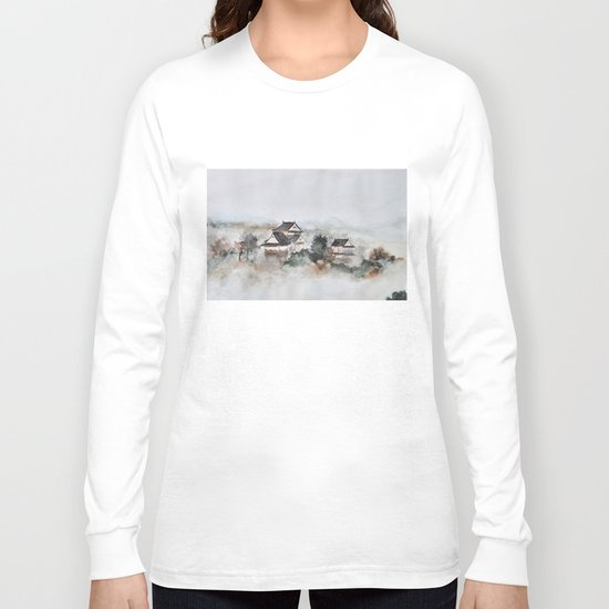 Japanese ancient city in fogging day Long Sleeve T-shirt