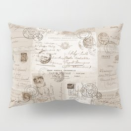 Old Letters Vintage Collage Pillow Sham