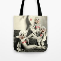 nudes Tote Bags featuring RECLINING NUDE CLOWNS (censored) by Julia Lillard Art