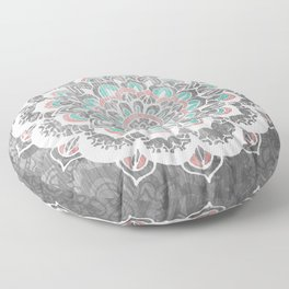 Pastel Floral Medallion on Faded Silver Wood Floor Pillow