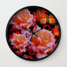 Three Antique Pinkish Roses Monarch Butterflies Art Wall Clock