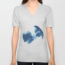 Watercolor Circle Abstract Simple | Blue Blob May 35 Unisex V-Neck