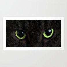 Green Cat Eyes Art Print