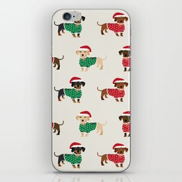 Dachshund christmas sweater holiday santa hat doxie dachsie lovers iPhone Skin