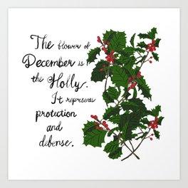 Holly - Birth Month Flower for December Art Print