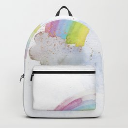 Rainbow Watercolour and Gold Sprinkles Art Print Backpack