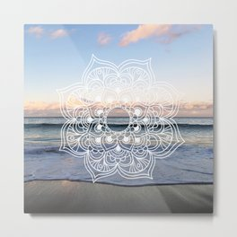 Flower shell mandala - shoreline Metal Print