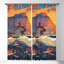 Hawaii Surfing, Diamondhead, World Airways Vintage Travel Poster Blackout Curtain