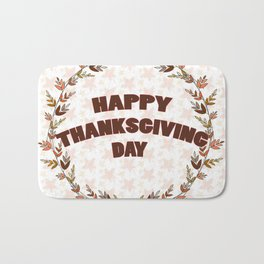 Greating card on Thanksgiving day Bath Mat
