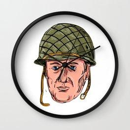 World War Two American Soldier Head Drawing Wall Clock