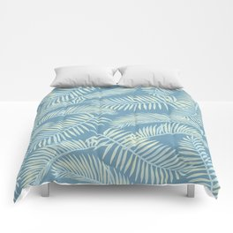Palm Leaf Pattern Yellow And Blue Comforters