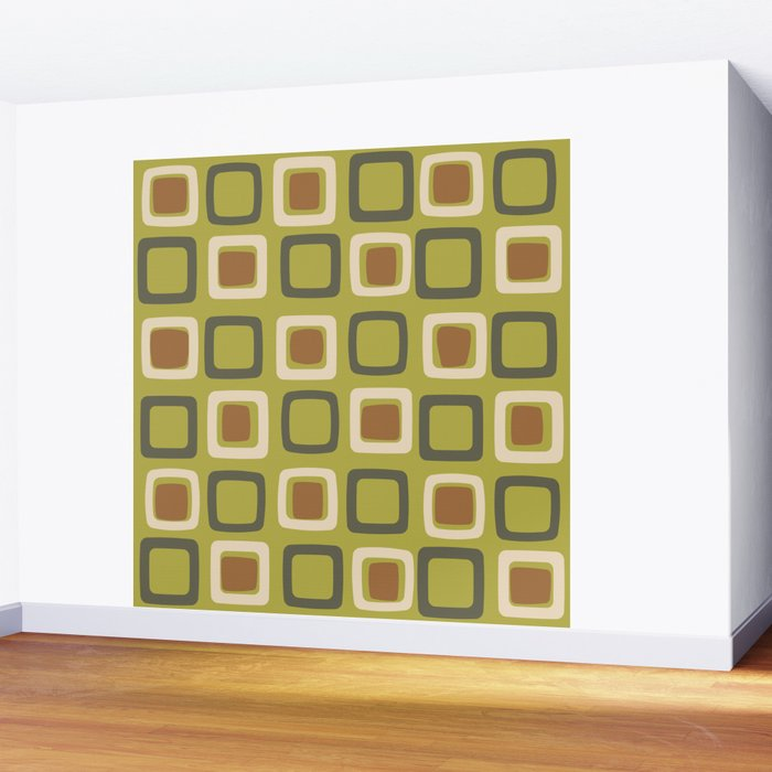 Mid Century Modern Squares Chartreuse Wall Mural