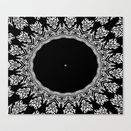 Feathers and Circles Kaleidoscope In Black and White Canvas Print