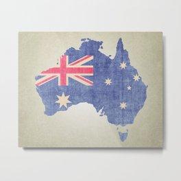 Australia Flag Silhouette Metal Print