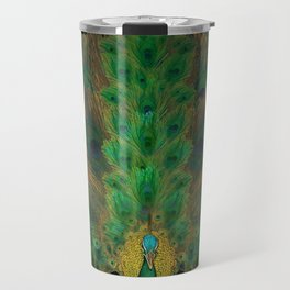 """Emerald and black peacock"" Travel Mug"
