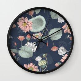 moody midnight lotus seamless pattern Wall Clock