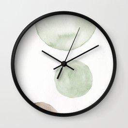1  |181104 Australian Leaf Green & Brown Earth Orbs | Watercolour Circle Abstract Geometrical Wall Clock