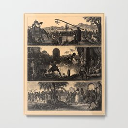 Iconographic Encyclopedia of Science, Literature and Art (1851) - Indian and Hindu scenes Metal Print