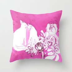 Pink Cats In Love Print Throw Pillow