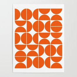 Mid Century Modern Geometric 04 Orange Poster