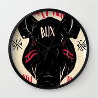 pigs Wall Clocks featuring WAR PIGS by Joshua Billingham