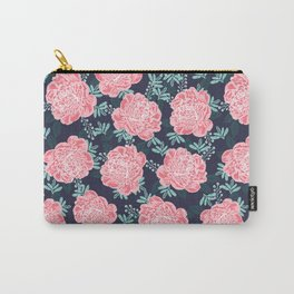 Peony Flowers navy pink and white modern colors for office home or college dorm decor Carry-All Pouch