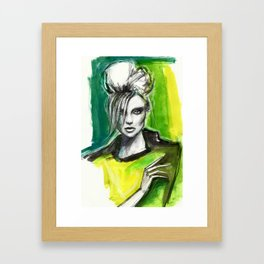 Watercolour fashion portrait Framed Art Print