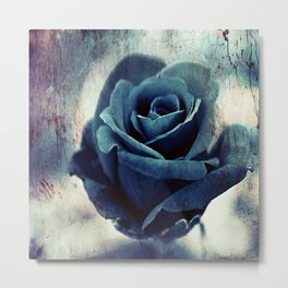 Mysterious Blue Rose Metal Print