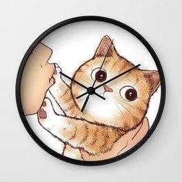 kiss cute cat Wall Clock
